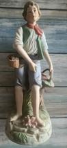 "Homco ~ ""Woman Gardening""  ~ 8.75"" Tall ~ Bisque Porcelain Figurine ~ Japan - $49.50"