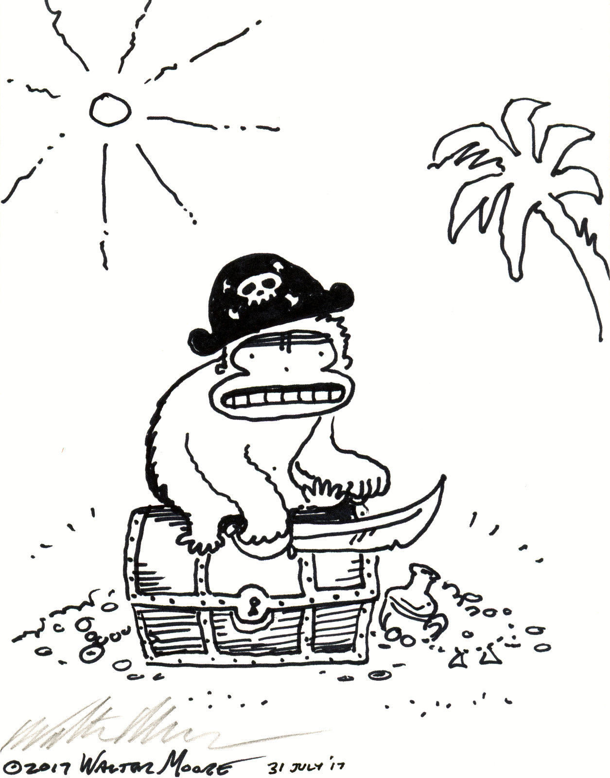 Primary image for Pirate Ape Guards Treasure. Original Signed Cartoon by Walter Moore