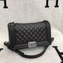 AUTHENTIC CHANEL LE BOY BLACK QUILTED CAVIAR LEATHER MEDIUM FLAP BAG RHW image 6