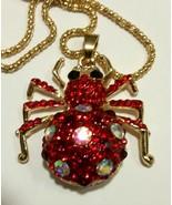 Betsey Johnson Bling red white Crystal Spider Retro Pendant Long Chain N... - $3.96