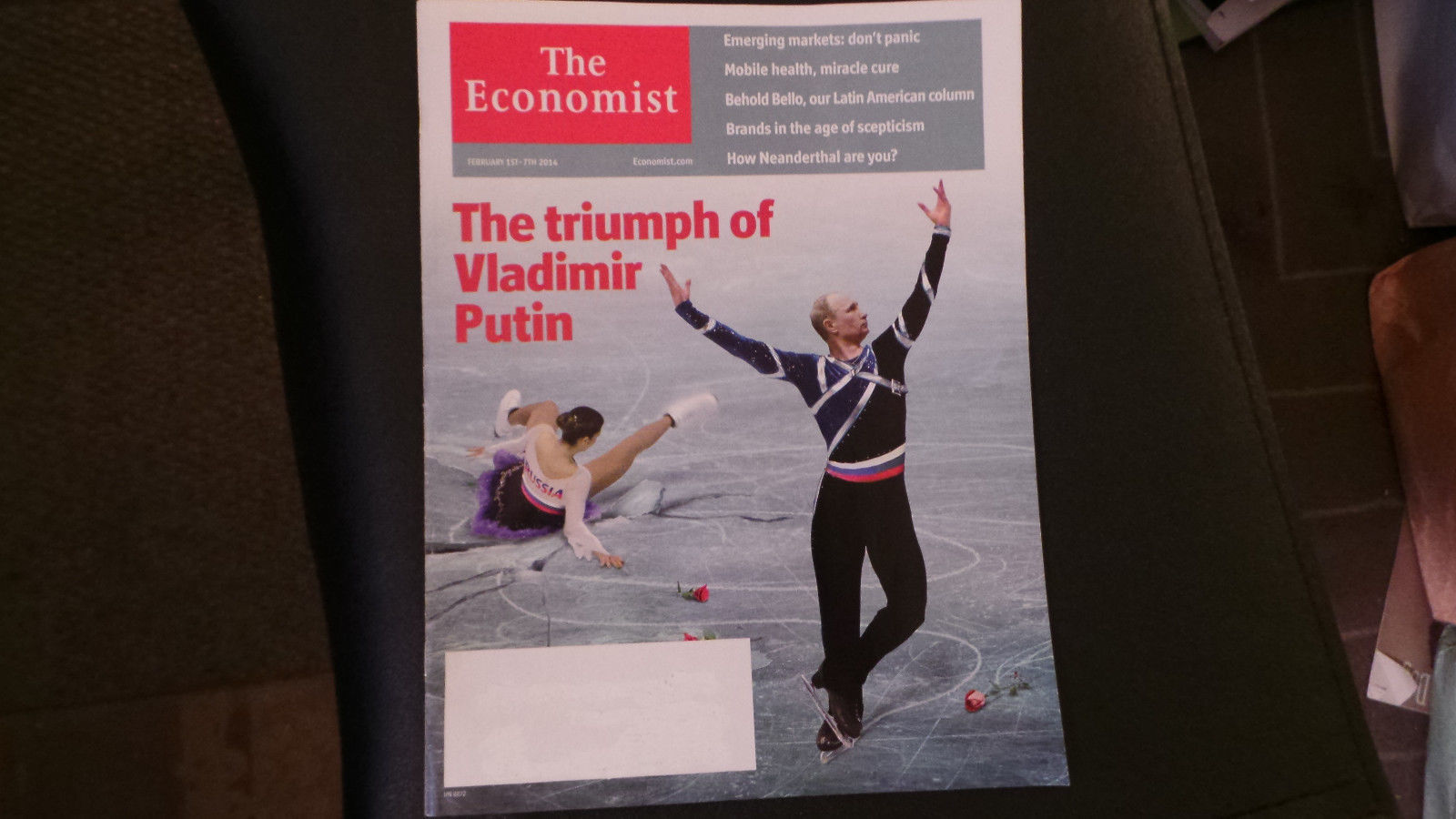 The Economist Magazine Vladimir Putin; Ice Skating Cv Sochi Olympics Feb 2014 NF
