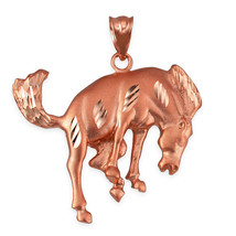 10K Rose Gold Bucking Stallion Horse Satin DC Pendant  - $189.99