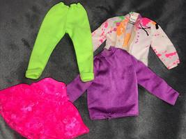 80s Barbie Vintage Set Lot Of 4 Purple Pink Skirt Yellow Pant Jacket Pai... - $34.65