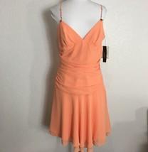ABS Allen Schwartz Womens Dress Size 10 Party Formal Peach Rhinestones Strappy - $23.76