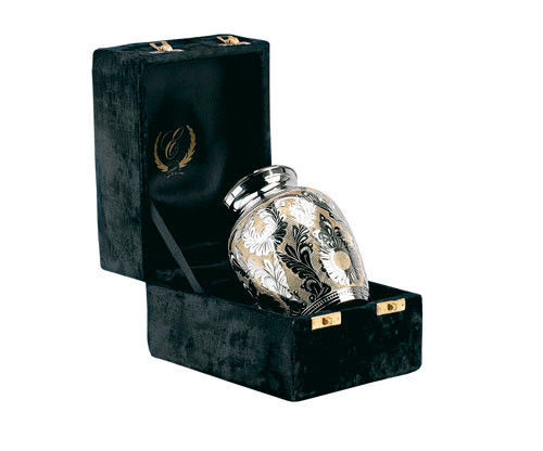 """Silver and Gold Colored Brass Funeral Cremation Urn w. Box, 7"""" Child/Pet Size image 2"""
