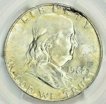 1962-D FRANKLIN SILVER HALF DOLLAR PCGS MS64 BEAUTIFUL TONED COIN IN HIG... - $39.59