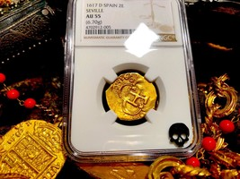 "SPAIN 2 ESCUDOS ""DATED"" 1617 ""ATOCHA ERA"" NGC 55 PIRATE GOLD COINS TREAS... - $2,950.00"