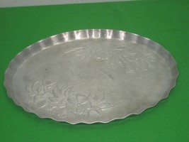 "Pounded Aluminum Oval Serving Tray Platter Raised Floral Design 12"" Long - $11.53"