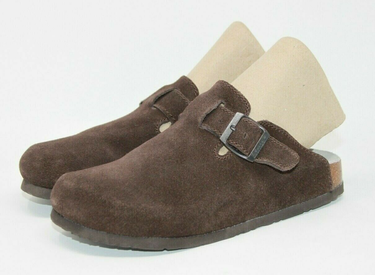Bjorndal Size 7.5 B Harvard Clogs Suede Cork Sole Slip on Comfort Nurse Shoes