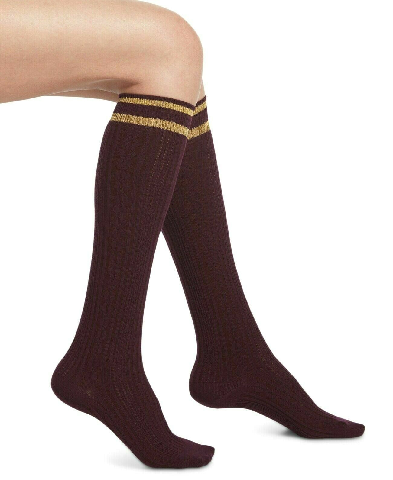 HUE Oro Metálico Rayas Borgoña Intenso Cable-Knit hasta la Rodilla Socks 9-11 De