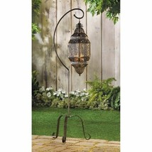 """Hanging Lattice Candle Lantern on Stand Moroccan Style 41"""" High - $55.95"""
