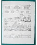 ARCHITECTURE Greece Greek Temples Citadel of Athens - 1828 Antique Print - $8.55
