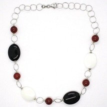 925 Silver Necklace, White Agate, Onyx, Carnelian, Chain Rolo worked image 2