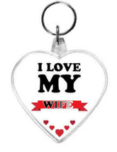keyring double sided heart, love my wife design, keychain