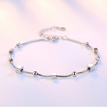 Anenjery 925 Sterling Silver Bracelets For Women Double Layer Star Square Box Ro - $14.65