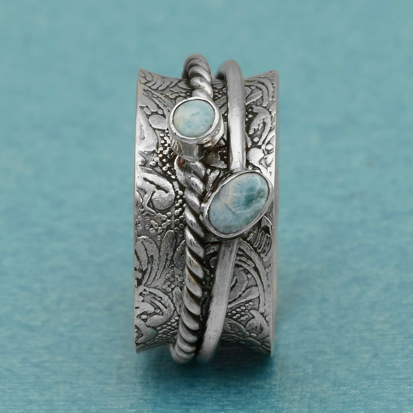 Primary image for Spinner Ring! Multi Color Band Larimar Gemstone Meditation Ring 925 FINE SILVER