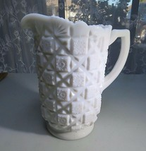 Westmoreland OLD QUILT MILK GLASS Pint Pitcher Pop Art Cubism Déco  - $30.00