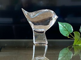 Cute Baccarat Chubby Bird on Plinth MINT Signed French Crystal - $157.41