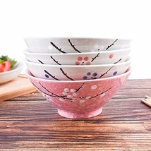 Ramen Bowls Set of 4 Color - Large 7 Inch - Japanese Style Hand-painted ... - £37.41 GBP