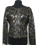 Round Neck Multi Color Genuine Leather Leaf Jacket Womens All Sizes Zip ... - $115.00