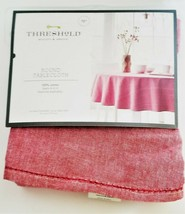"""Threshold Round Chambray Hemstitch Tablecloth Red 70"""""""