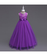 Ruffled Tulle  Lace Floor Length Purple Color Party Gown for Girls - $48.99+