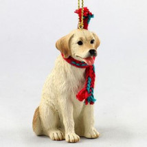 "LARGE 3"" LABRADOR YELLOW DOG CHRISTMAS ORNAMENT HOLIDAY Figurine Scarf gift - $14.99"