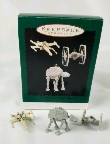 Hallmark Keepsake Ornament Miniature 3 Ornament Set Vehicles of Star Wars 1996