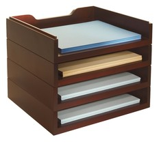 Bindertek Stacking Wood Desk Organizers with 4 Letter Tray Kit, Mahogany... - $129.40