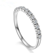 White Gold Over 925 Sterling Silver Round Cut CZ Half Circle Enternity Band Ring - £31.45 GBP