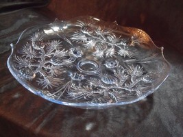 """ANTIQUE PINEAPPLES PATTERN LIGHT BLUE DEPRESSION GLASS 12"""" FOOTED BOWL ~... - $44.55"""