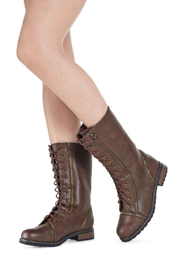 17702a55cc4 Womens JustFab Combat Boots Brown with and 50 similar items. 57