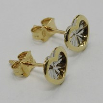 18K WHITE YELLOW GOLD HEART EARRINGS FINELY WORKED, DOUBLE RAYS STAR, ITALY MADE image 2