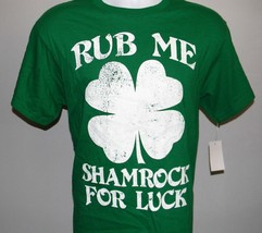 Mens Rub Me Shamrock For Luck T Shirt Medium St Patty's Day Irish Clover - $21.73