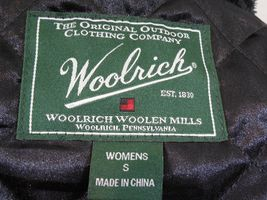 WOOLRICH Womens S/SMALL MAPLE RUN Button UP WOOL Quilt Lined BLACK PLAID Jacket image 9