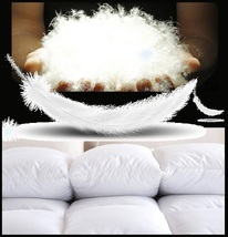King Size White Jacquard Weave Silk Quilted White Duck Down Duvet Comforter image 2