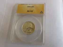 1964 , Washington Quarter , ANACS , AU 55 - $15.00