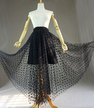 Women Black Long Tulle Skirt Retro Polka Dot Floor Length Tulle Skirt Prom Skirt