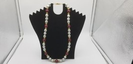 Vintage Signed Napier Silver & Burgundy Wine Color Beaded Necklace W/ Gold Clasp - $17.38