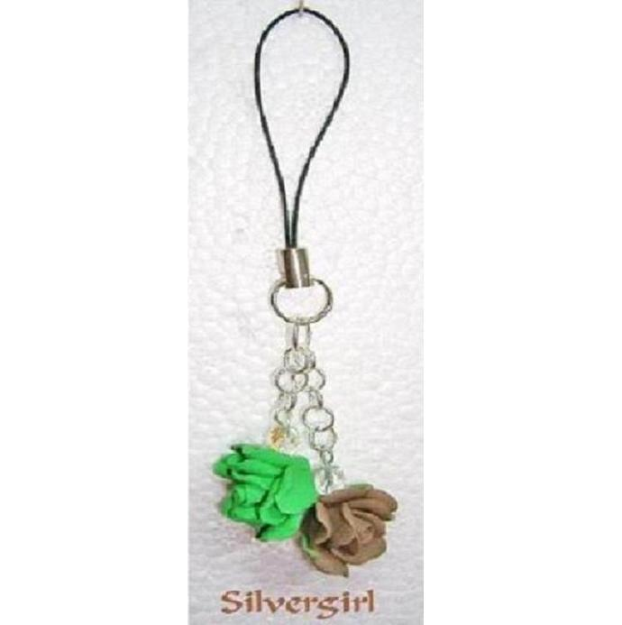Green and Brown Rose Crystal Cell Phone Charm PDA MP3 Purse Zipper Pull