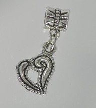 NICE Sterling Silver 925 Very Beautiful Heart Dangle bead charm for Euro... - $14.22