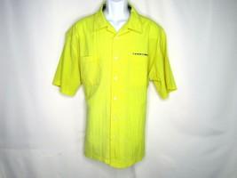 Tommy Hilfiger Jeans Men's Yellow Seersucker Shirt Button Up Spell Out XL - $23.05