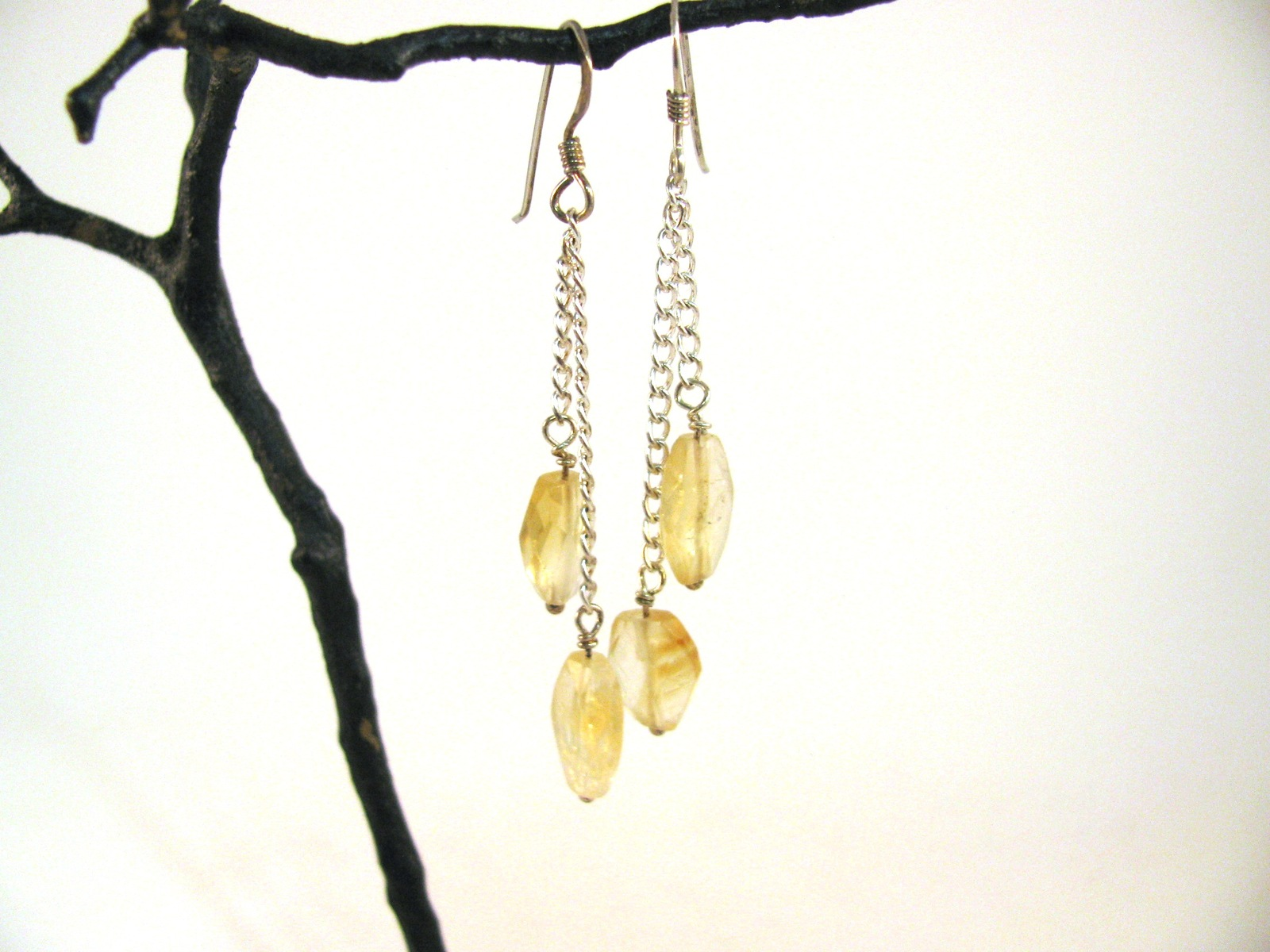 Citrine Dangle Earrings with Sterling Silver RKS533