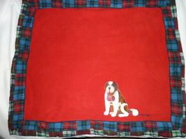 Baby Gap St Bernard Dog Red Fleece Patchwork Plaid Flannel Blanket NEW - $68.80
