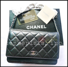 BNIB Chanel Classic Quilted WALLET ON CHAIN or WOC Black Lambskin with S... - $3,800.00