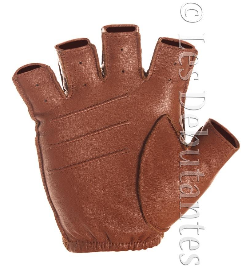 MEN'S BROWN LEATHER FINGERLESS DRIVING GLOVES - Gloves ...