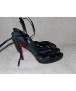 Betsy Johnson Black Patent Leather STRAPPY Black Heels 8M Women Used - $39.59