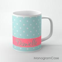 Cute soft blue polka dots Coffee Cup design, personalized mug name or mo... - $12.99
