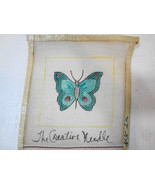 Butterfly Teal Blue & Green Needlepoint Canvas 6 inch sq The Creative Ne... - $15.82
