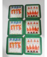 Pimpernel Snow Friends Santa Snowmen Christmas Set of 6 Cork Coasters En... - $20.79